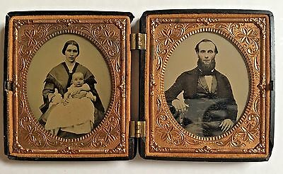 Civil War Era Double Ambrotype of Carroll Family of Waitsfield, VT VG Condition