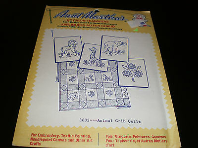 Aunt Martha's Hot Iron Transfers  - Animal Crib Quilt  - Sealed - #3682