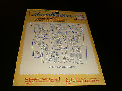 Aunt Martha's Hot Iron Transfers  - Kitten Motifs   - Sealed - #3733