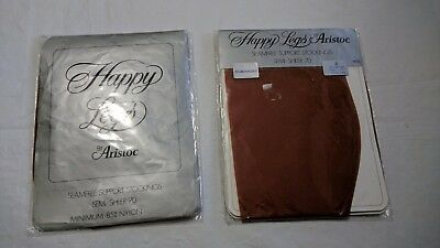 NEW 2 vintage happy legs aristoc support stockings size D long leg 10 1/2-11 ""