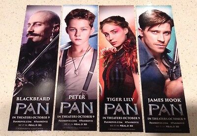 4 Promotional PAN Bookmarks Set - James Hook Blackbeard Tiger Lily Peter Movie