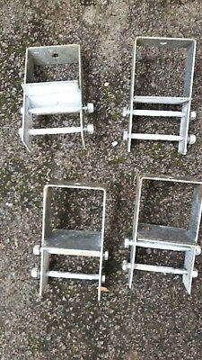 Fence post feet/anchors x4 - galvanised