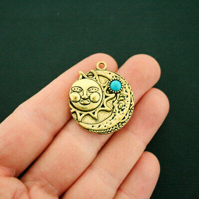 2 Sun and Moon Charms Antique Gold Tone with Faux Turquoise Stone - GC1018