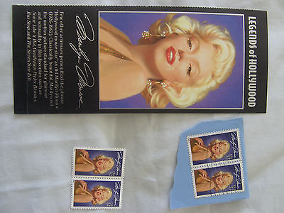 USA Stamps of Marilyn Monroe, 2 Mint & 2 On Paper plus Marginal Print