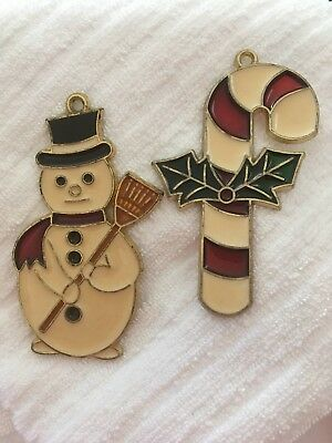 Vintage Christmas Hard Plastic Candy Cane, Frosty, Stained Glass Like Ornament
