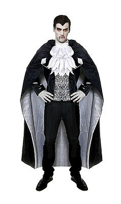 Mens Dracula Costume Vampire Fancy Dress Halloween Outfit & Long Cape NEW 40-42