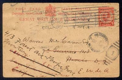 UK 1913 1d KGV PC TO MEXICO REDIRECT TO USA