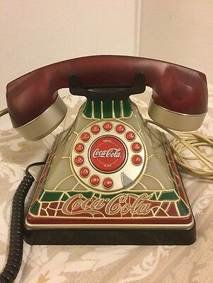 COCA-COLA Stained Glass Look Telephone, Lights Up, EXCELLENT WORKING CONDITION