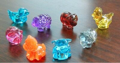 Stocking Stuffers 8 Mini Translucent Hard Plastic Animals (Pencil toppers)