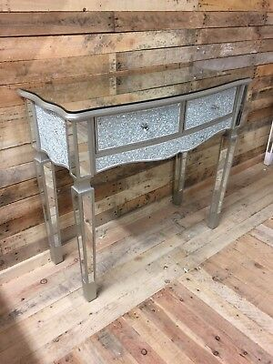 Sparkly Antique Silver Crackle Mosaic Mirrored Glass 2 Drawer Dressing Table