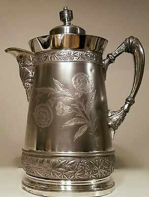 Antiq. Victorian WILCOX Aesthetic Movement Quad Plate Insulated Water Pitcher