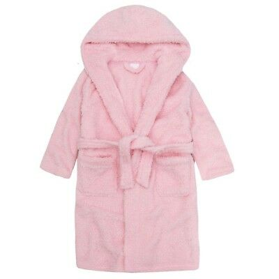 GIRLS SHIMMER SPARKLE Hooded Dressing Gown Girls Toddler Pink Cream ...