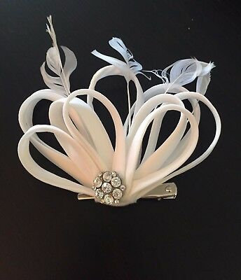 Bridal Hairpiece Rhinestone Feather Accent Clip/ 1920's inspired/White/Silver