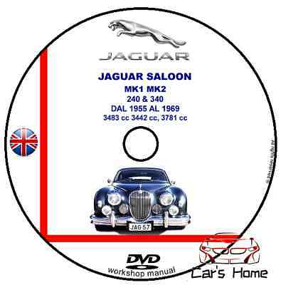 Manuale Officina Jaguar Saloon Mk1 Mk2 240&340 My 1955-1969 Workshop Manual Dvd