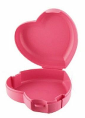 NEW tupperware red sparkly heart keeper filled with 5 random keychains