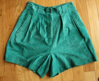 Vintage Green Leather Suede High Waisted Pleated Shorts by Sergio Mtg