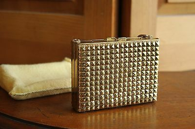 Vintage Gold Tone Makeup Compact Purse Mirrored Vanity Lipstick Holder