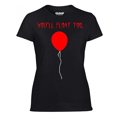 Red Balloon T-Shirt Scary Clown Halloween Stephen Kings It Inspired Pennywise