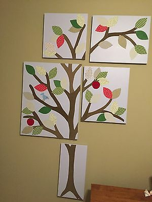 Pottery Barn Kids 5 Piece Tree Canvas Set Wall Nursery Art Blue Leaves Bird
