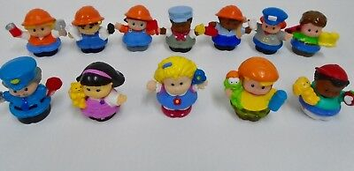 12  Fisher Price Little People w Pets Skateboarding Eddie Mail Lady Workers Lot
