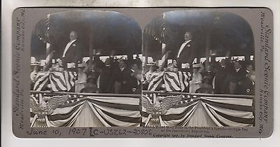 1907 Stereoview - President Teddy Roosevelt At Georgia Day Jamestown Exposition