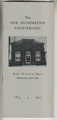 1953 BOOKLET - FIRST NATIONAL BANK - RHINEBECK NEW YORK - 100th ANNIVERSARY