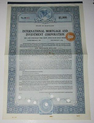1927 International Mortgage And Investment Corp Bond Certificate - Maryland