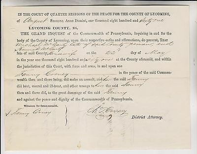 1861 LYCOMING COUNTY PA INDICTMENT FANNY COONEY ASSULTED BY MICHAEL McCARTY