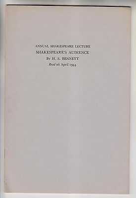 Vintage Booklet - Shakespeare's Audience - By H.s. Bennett - 1944