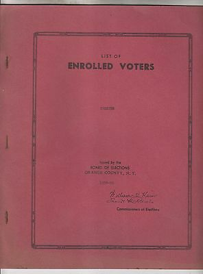 1958-59 List Of Enrolled Voters - Town Of Chester - Orange County New York