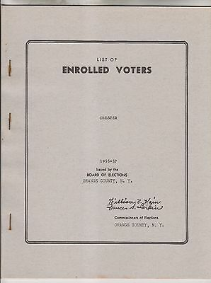 1956-57 List Of Enrolled Voters - Town Of Chester - Orange County New York