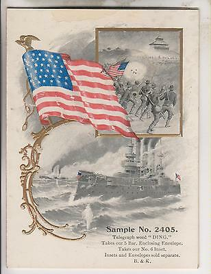 VINTAGE B & K GREETING CARD SAMPLE No.2405 - MILITARY - BATTLESHIP