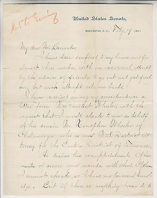 1883 James D Cameron Signed Letter As U.s. Senator To Attorney General Brewster