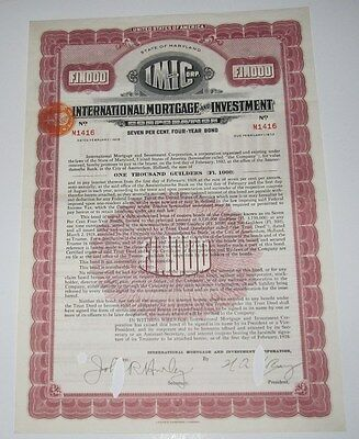 1928 International Mortgage And Investment Corp Bond Certificate - Maryland