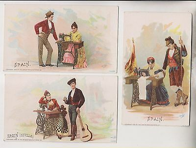 3 1892 Victorian Trade Cards - Spain - The Singer Manufacturing Co.