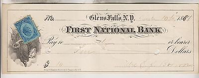 1881 Cancelled Check - First National Bank - Glens Falls New York