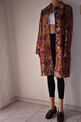 Vintage Chinese Embroidered Satin Kimono Asian Metallic Duster Jacket Womens L