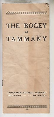 Scarce 1928 Democratic National Committee Pamphlet - The Bogey Of Tammany