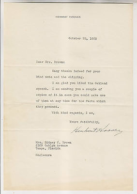 October 28 1935 Herbert Hoover Autograph Letter To Mrs Sidney Brown