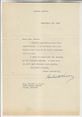 September 19 1934 Herbert Hoover Autograph Letter To Mrs Sidney Brown