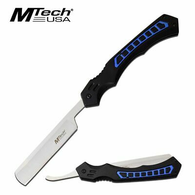 Straight Razor | Mtech Tactical Black Blue Stainless Steel Blade Folding Knife