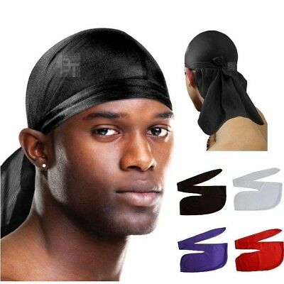 Men's Durag men Bandanna Sport Du-Rag Scarf Head Rap Tie Down Band Biker Cap UK