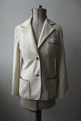 Vtg 1930s style 70s cream & navy ribbed blazer boating jacket w pockets. 10