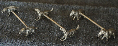 3 Antique Wmf Twin Animal Knife Rests Elephant Wild Boar Setter Dog #12