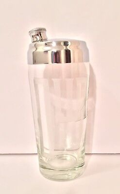 """Vintage Mid Century Etched """"Ours"""" Glass Cocktail Shaker 7"""" Tall - Excellent!"""
