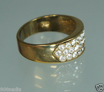 Vintage Gold Plated,pave Rhinestone/crystal Band Ring Size 8