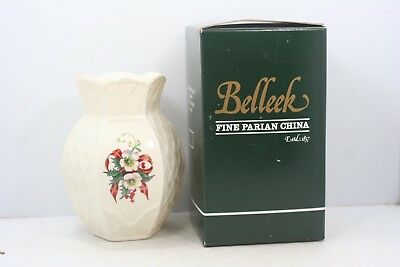 Belleck Winter Rose Violet Vase #2241 In Orig Box Ireland Fine Parian China