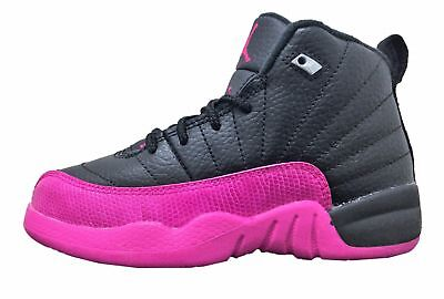 New Air Jordan Kid's Retro 12 XII (PS) Shoes (510816-026)  Black//Deadly Pink