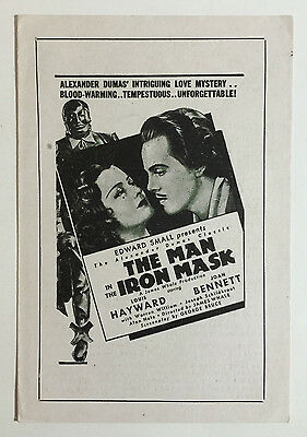 The Man In The Iron Mask Vintage Movie Ad Brochure, Hygrade Films London c. 1939