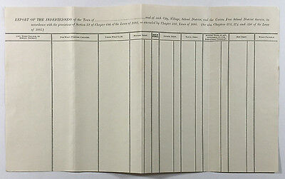 Antique New York State Accounting Document, Town Indebtedness Report, Unused